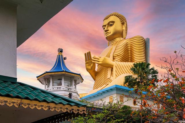 Golden Buddha statue in Dambulla Temple